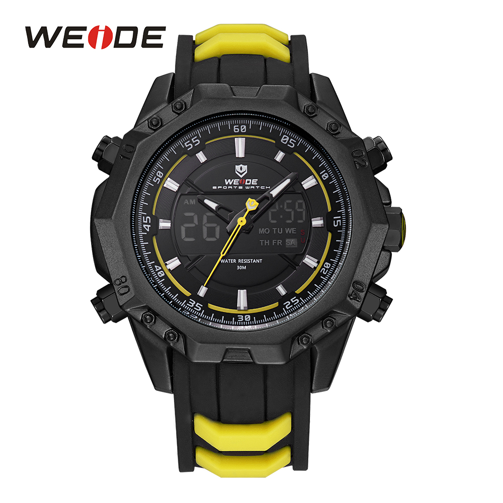 WEIDE Men Sport Yellow Analog LCD Digital Dual Display Backlight Alarm Silicone Strap Auto Date Day Quartz Movement Wristwatches<br>