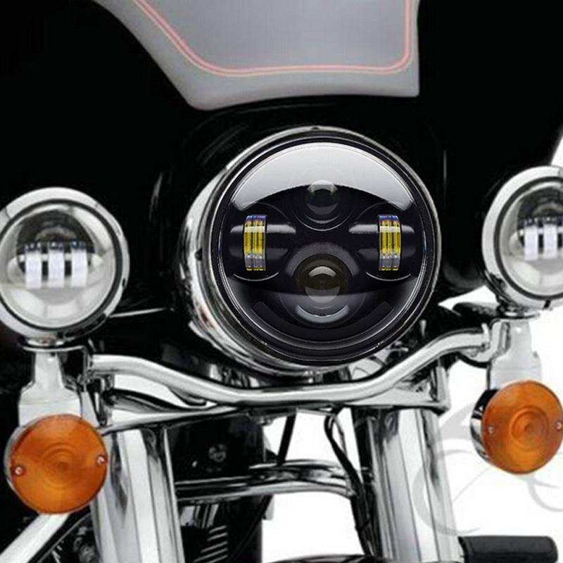 Black Aluminum 4D Round LED Hi-Lo  Headlight D-Shaped IP 67 Rated For Harley 5.75 High Low Beam<br><br>Aliexpress