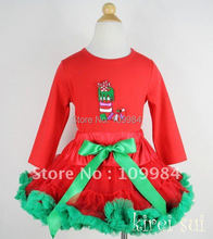 Christmas Red Green Pettiskirt & Red Long Sleeves Top with Christmas Stocking / Pettitop Size 1-7Y
