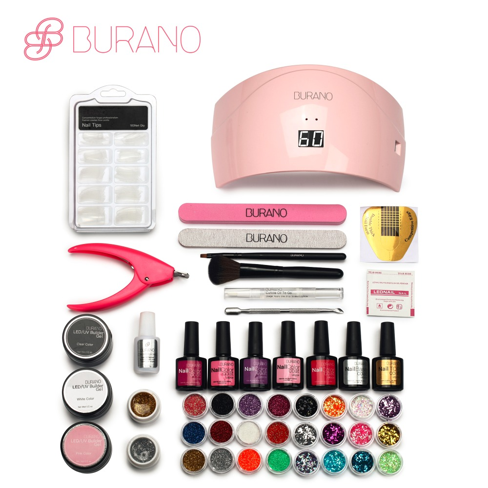 BURANO Nails 24w led lamp 5 color soak off led color gelnail art polish gel manicure set uv gel polish nail tools set 066<br>