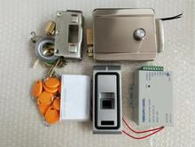10 tags power supply 125khz metal Fingerprint Biometric access control rfid reader gate door lock access control kit