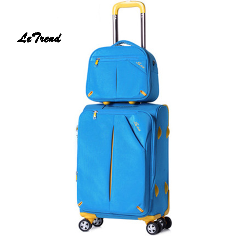 Letrend Oxford Spinner Rolling Luggage Set 20 inch Travel Bag Carry luggage Women password Trunk Men Suitcases Wheel Trolley