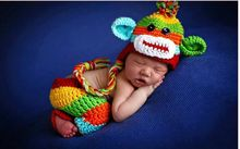 0-1m,3-4m Newborn hat and pants baby sets Newborn Baby Girls Boys Monkey Crochet Knit Costume Photography Prop free shipping(China)