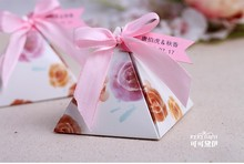 wedding candy favor box -- Customized Tag Pyramid Candy Box sweet Colorful gift box party giveaways box 200pcs/lot(China)