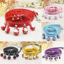 Fashion Puppy Dog Cat Collar PU Leather Adjustable Dog Collars and Durable Leash Lead Set With 5 Bells Pet Neck Strap(China)