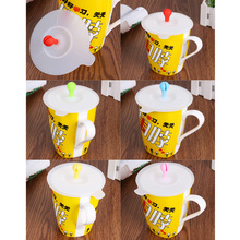 1pcs Cute Bean Sprouts Silicone Cup Cover Coffee Suction Seal Lid Cap Silicone Airtight Love Creative