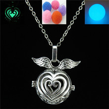 Free shipping Y20932 Vintage Silver Glow In The Dark Fragrance Diffuser  Heart Locket Necklace 24""