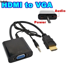 2017 New HDMI to VGA Converter Adapter with Audio Cable + Micro USB Power Connector HD and up to 1080P for Xbox 360 PS3 HDTV(China)