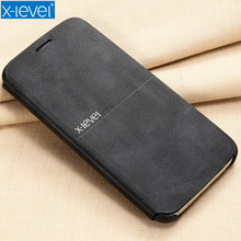 X-Level Leather Phone Case For Samsung Galaxy S7 Ultra thin Flip Full Protective Cover For Samsung S7 Edge Mobile Accessories(China)