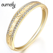 OUMEILY Indian Bangles Bracelets for Women Gold Color Jewelry Imitation Crystal Dubai Charm Bracelets Femme Luxury Metal Bangle(China)
