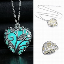 Glowing Luminous Vintage Hollow Necklace Silver Color Glow In The Dark Pendant Necklaces Tree Leaf collares For Girls Women(China)