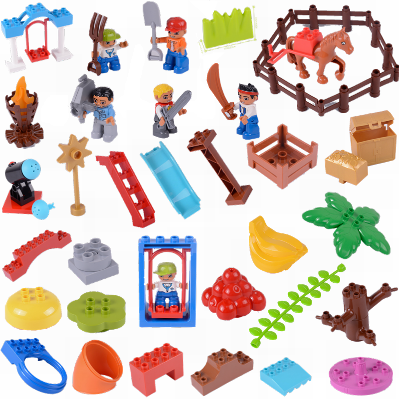 Legoing Duplo Big Size Swing Dinosaurs Figures Animal Accessories Diy Building Blocks Toy For Children With Legoings Duploe City