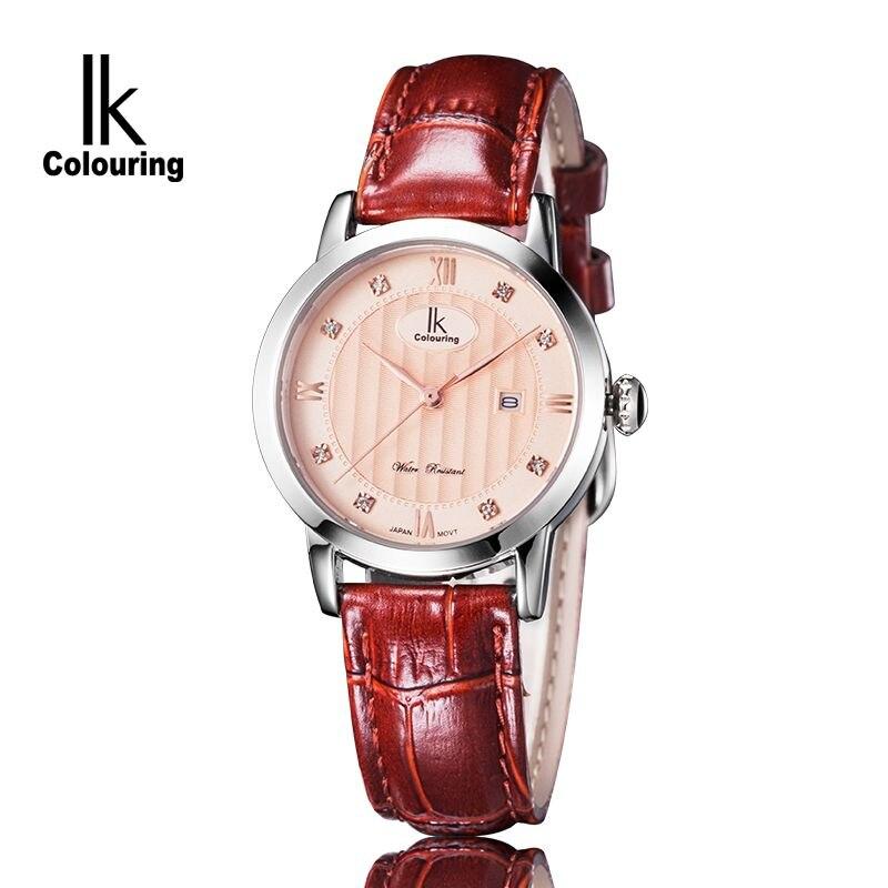 Luxury IK Womens Hardlex Crystal Day Quartz Watches Waterproof Wristwatch Original Box Free Ship<br>
