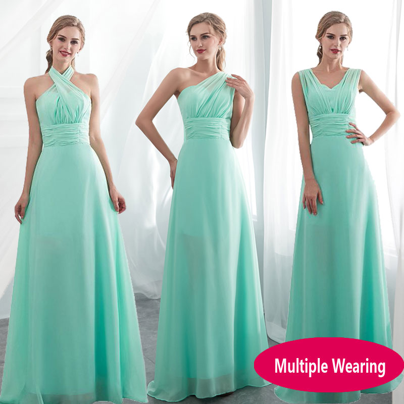 2020 Hot Lace Up Sleeveless Long Bridesmaid Dresses For Wedding Ruffles Chiffon a-Line Vestido De Madrinha De Casamento Longo