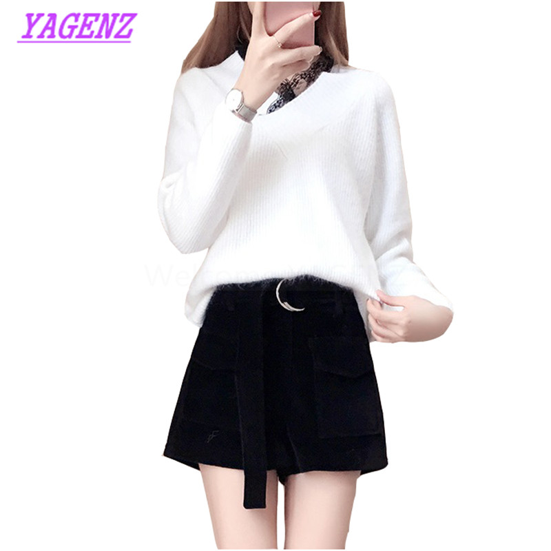 New Autumn Winter Pullover Sweater Women Fashion Solid color Slim Warm Sweater Young Women White V collar Knit primer shirt B299