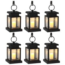 (6 / Pack) Solar Power LED Hang Light Outdoor Lantern Candle Effect Night Light for Garden Patio Deck Yard Fence Driveway Lawn(China)