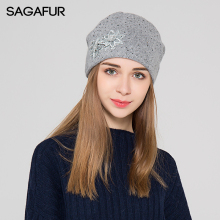 SAGAFUR Hat Female Women Flower Rhinestones Fashion Brand 2017 Winter Knitted Warm Women's Hats Skullies Beanies Bonnet #MZ801(China)