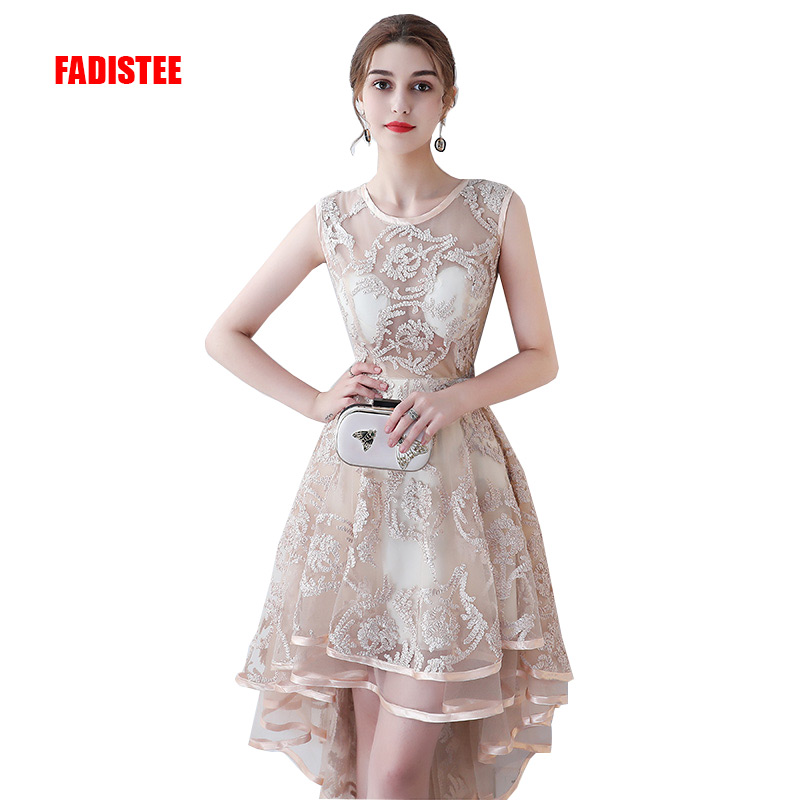 FADISTEE New arrival prom party dresses Vestido de Festa O-neck dress lace see through back formal party dress high-low style
