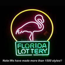 Florida Lottery Flamingo Neon Sign Neon Bulbs Store Display Real Glass Tube Custom Free Design Handcrafted Tube Glass Neon 19x15