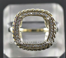 Princess cut 11.5mm 14K Solid Y/Gold 0.146ct , Semi-Mount Ring,Free Shipping