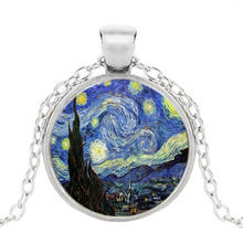 Caxybb Brand Wholesale Crystal Dome Doctor Who Necklace Dr Who Tardis by Van Gogh Art Pendant Jewelry for children(China)