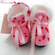 Winter First Walkers Warm Dot Leopard Zebra Toddler Kids Faux Fur Boots Fleece Baby Shoes Laced Ankle Socks 6-12 Months 18(China)