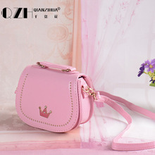 2017 Fashion Trend Mini lovely girl oblique Bag Satchel rivets Children inclined shoulder bagCB17010