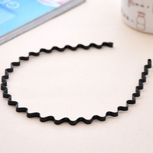 Hot 1Pc Wavy Black Head Band Summer style Hair Accessory Korean Metal Alloy hair Hoop(China)