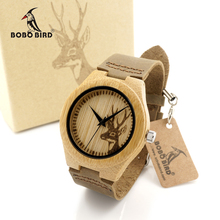 BOBO BIRD F29 Elk Deer Styles Bamboo Wood Watches Hot Women's Luxury Brand Leather Band Wooden Wristwatches Carton Box OEM