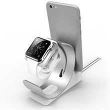 Aluminum Mobile Phone Holder Desk Charging Dock Stand for Apple Watch iPhone 6 6S 7 Plus 5 5S 5C SE iPad