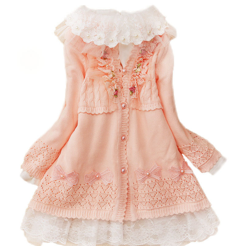 Autumn Girls Dress Set Baby Cotton Knitted Sweaters +lace Patchwork Petticoat Children Princess Clothing High Quality 3y-7y<br>