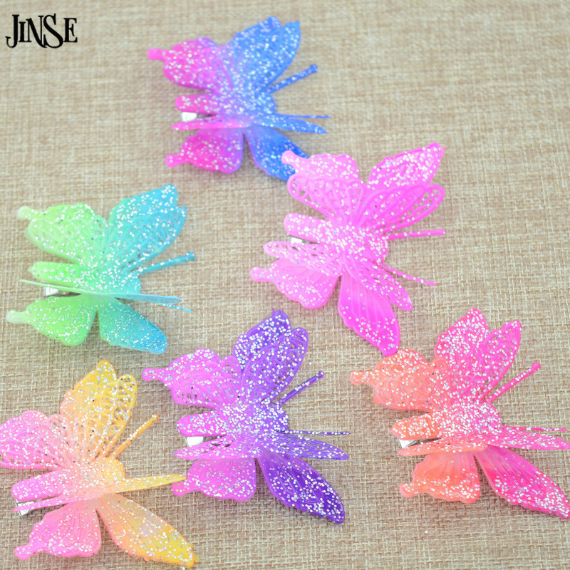 JINSE Colorful Bohemian Shinning Butterfly Hair Clips for 5pcs/lot Hairpins Prom Jewelry Christmas Novel Colors At Random HPS008(China (Mainland))