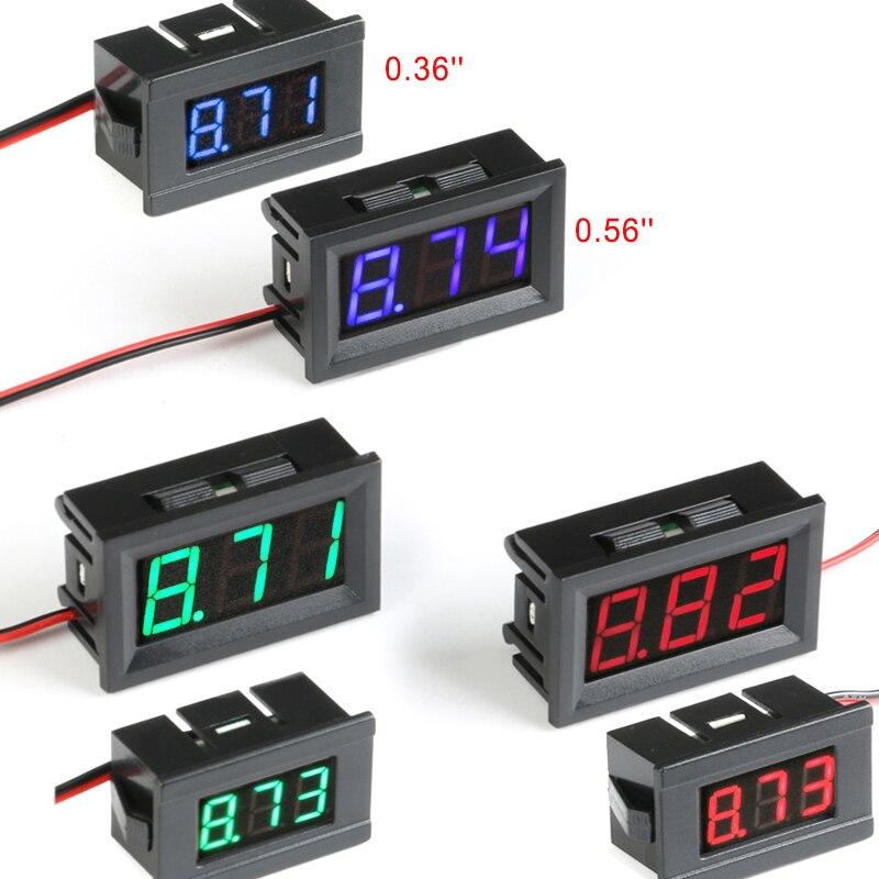 DC 3-30V Two Wire Precision Green Mini LED Panel Voltmeter 0.36/'/' Car 12V 24V
