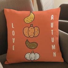 Cartoon Autumn English Letters Decorative Soft Short Plush Throw Pillow Sofa Office Chair Back Cushion For Kids Gift