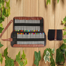 72-Slot Canvas Drawing Sketch Pencils Colored Pencil Roll Up Storage Wrap Pocket Holder Organizer Bag Pouch for School Office