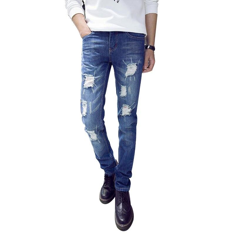 Hot New Arrival Blue Elastic Men Ripped Jeans Slim Fit Straight Denim Pants Cheap Price Mens Jean Skinny HommeÎäåæäà è àêñåññóàðû<br><br>