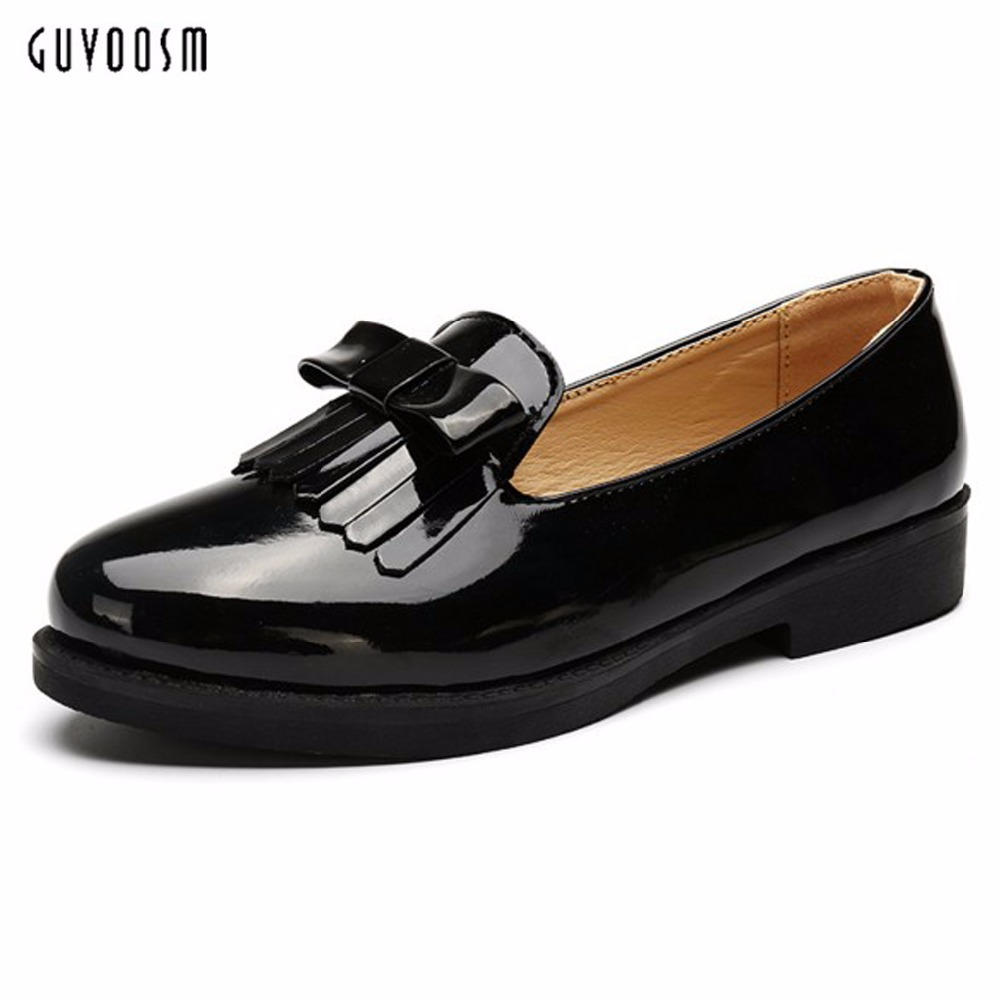 Guvoosm New Autumn Women Fringe Flats Female Loafers  PU Leather Casual British Handmade Black Rubber Shoes Woman Big Size 36-43<br>