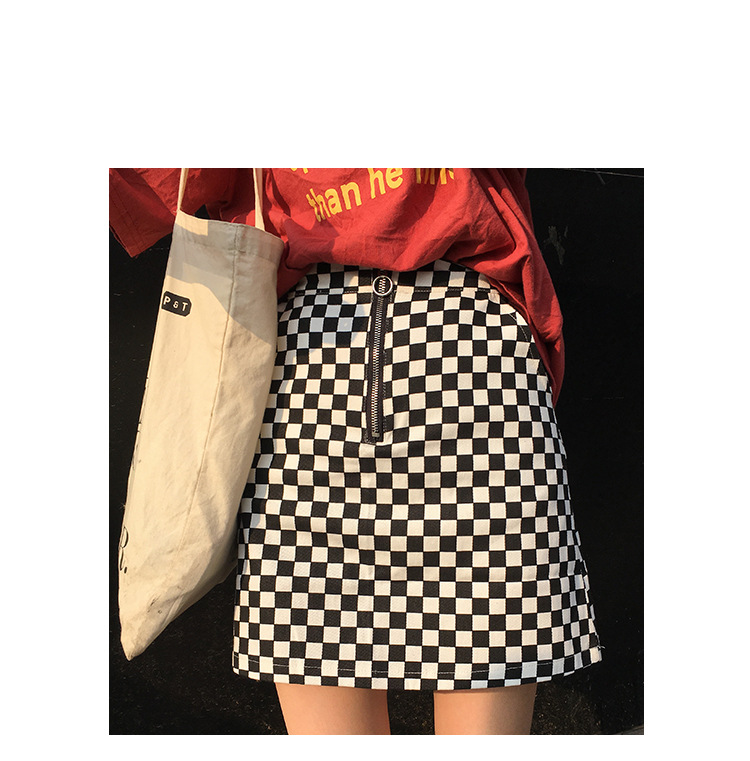 2017 Summer Korean Style Black White Plaid High Waist Slim A-line Female Skirts 4