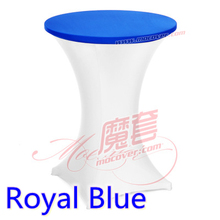 Royal blue colour spandex top cover for round cocktail lycra table cloth wedding banquet party cocktail table decoration sale