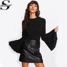 Sheinside Lettuce Edge Trim Flare Sleeve Textured Tee Black Round Neck Long Sleeve Plain Top 2017 Women Elegant T-shirt(China)