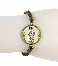 Animal bracelet keep clam and love dogs jewelry glass cabochon pendant suede leather bangle hand accessories friendship pulseras
