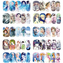 STZ 1 Sheet Beauty Girls Nail Art Stickers Princess Christmas Winte Design Water Full Cover Decals Manicure DIY Tool A1189-1200
