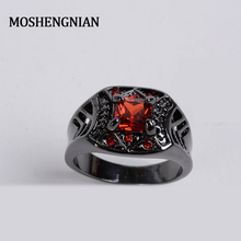 Black Gold Zircon Ring Gothic Rococo Complex Pattern Thumb Ring Red CZ Gems Mosaic Dignified British Aristocratic Style Ring