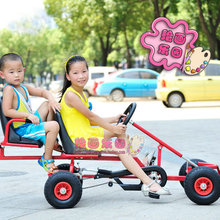 twins go karts, thicken steel frame kids karts with hand brake, two chilren karting(China)