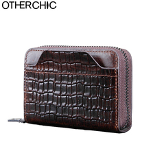 OTHERCHIC Oil Wax Cowhide Leather Card Holders Women Card Case Cover Men Card Wallet Card & ID Holder Small Change Purse 7N04-13