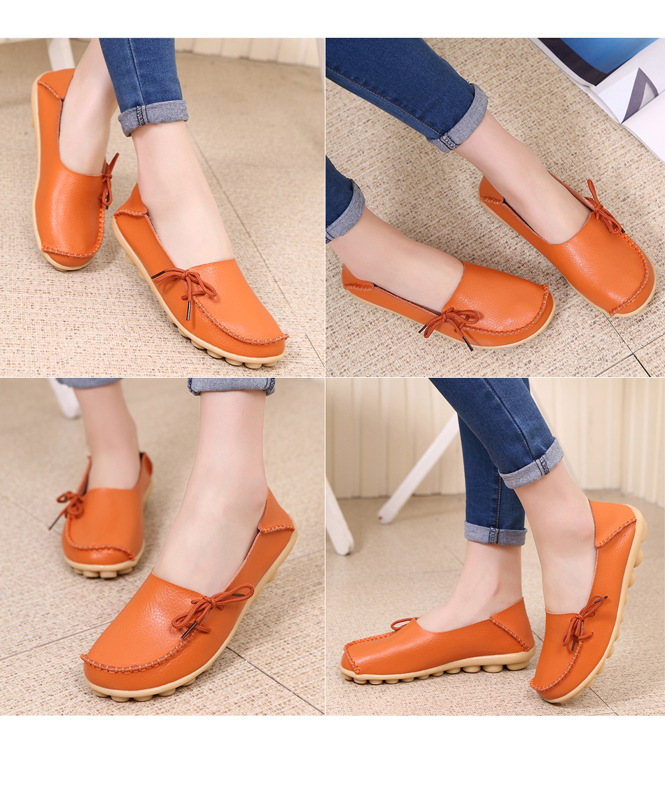 Genuine Leather Women Shoes Spring Soft Lace-up Flat