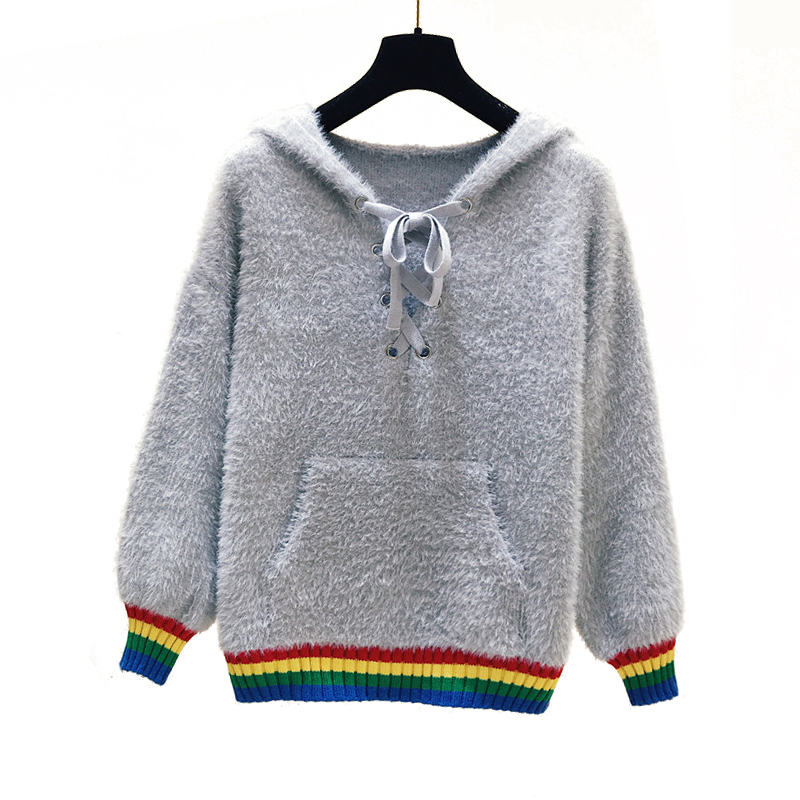 PERHAPS U women sweater hooded knitted pullovers long sleeve white rainbow striped loose winter mohair M0015