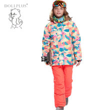 -30 Degree Winter Warm Coat Sporty Boys Ski Suit For Girls Windproof Jackets For Girls Kids Children Clothes Sets Outerwear(China)