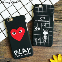 Crazy Cow Cute Cartoon Love Heart Zebra Grid Big Eyes Hard PC Phone Cases Cover For iPhone 5 5s Se 6 6s Plus 7 7Plus Funda Coque