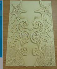 laser cut customized Wholesale - 20pcs/lot light gold sea horse star Wedding invitations